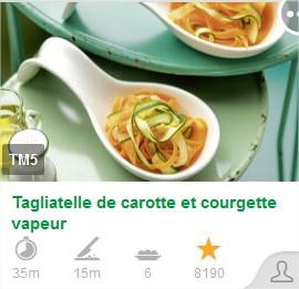 Tagliatelle courgette et carotte vapeur