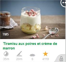 Tiramisu aux poires et crème de marron